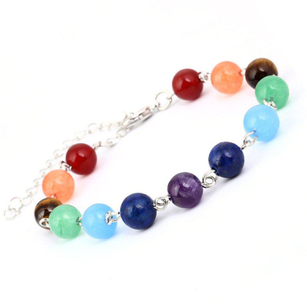 Stylish Minimalist Natural Stone Colorful Beads Yoga Energy Chakra Bracelet Woman - multicolorCOLOR