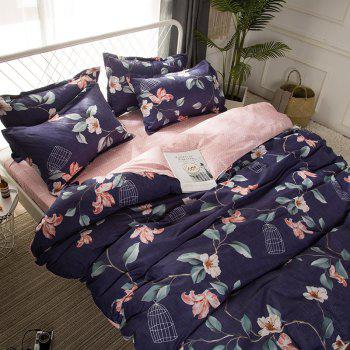 4 Pcs Duvet Cover Set Modern Floral Soft Comfy Sheet Sets - DEEP PURPLE FULL