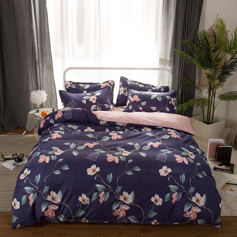 4 Pcs Duvet Cover Set Modern Floral Soft Comfy Sheet Sets - DEEP PURPLE KING