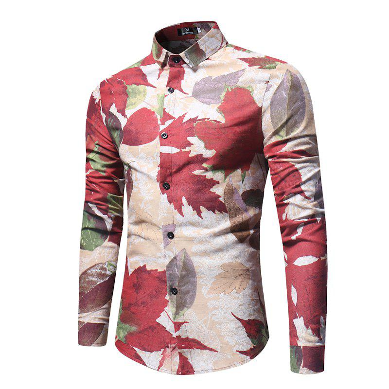 Spring and Autumn Leaf Print Men's Long Sleeve Shirt - KHAKI XL
