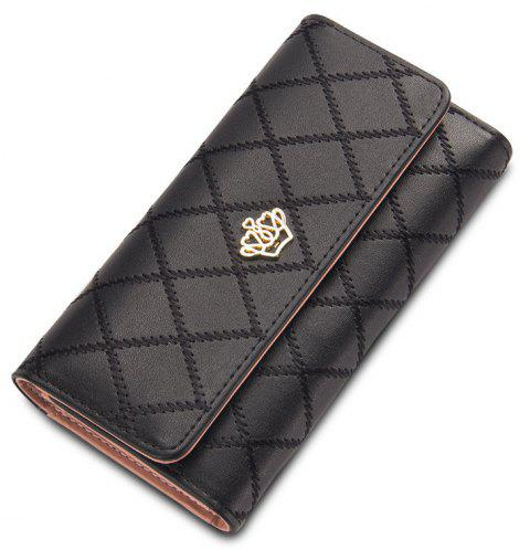 Baellerry Long Trifold Plaid Crown Purse Embroidered Hand Bag Credit Card Holder - BLACK