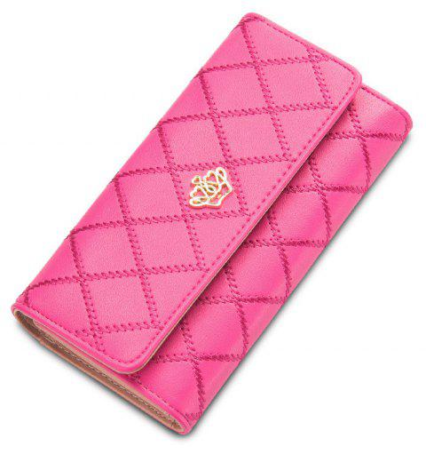 Baellerry Long Trifold Plaid Crown Purse Embroidered Hand Bag Credit Card Holder - PINK
