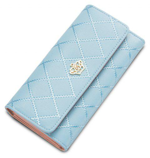 Baellerry Long Trifold Plaid Crown Purse Embroidered Hand Bag Credit Card Holder - LIGHT BLUE