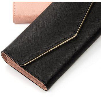 Baellerry Women's Trifold Long Purse Casual Wallet Hand Bag Credit Card Holder - BLACK