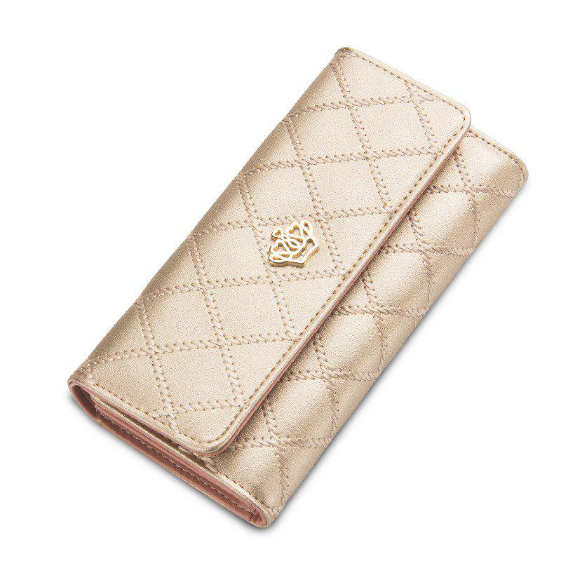 Baellerry Long Trifold Plaid Crown Purse Embroidered Hand Bag Credit Card Holder - CHAMPAGNE GOLD