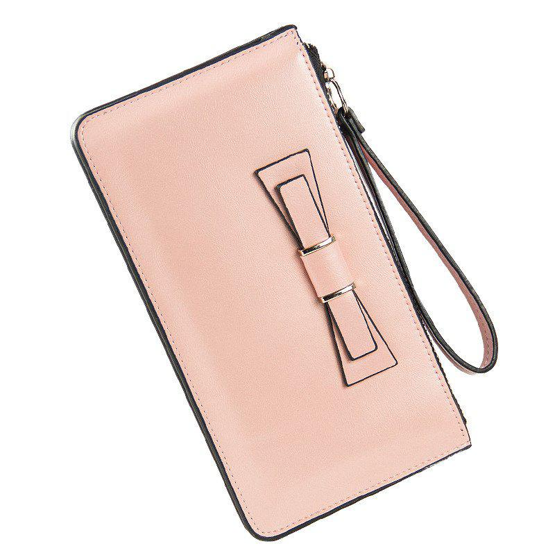 Baellerry Women's Long Large Capacity Bowknot Purse Hand Bag Mobile Phone Package - PINK