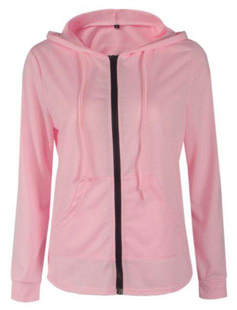 2018 Spring and Autumn Long Sleeve Zipper Jacket - PINK L
