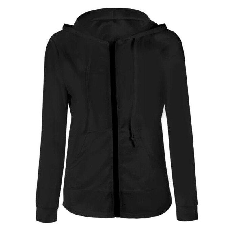 2018 Spring and Autumn Long Sleeve Zipper Jacket - BLACK S