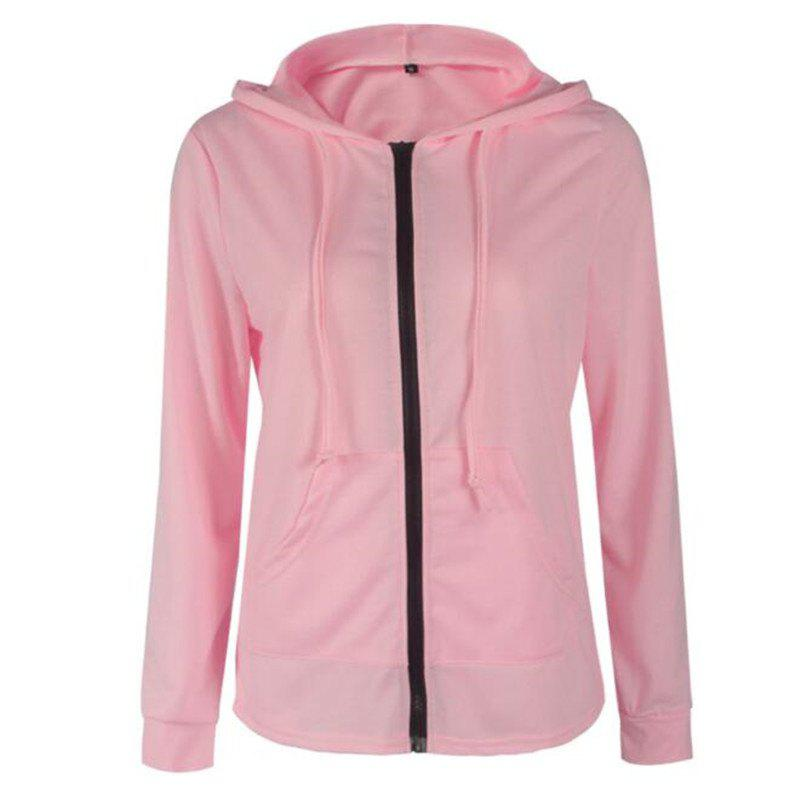 2018 Spring and Autumn Long Sleeve Zipper Jacket - PINK 2XL