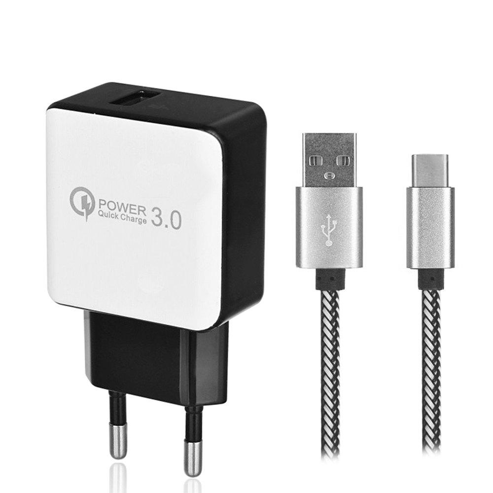 QC3.0 Fast Charging EU Plug USB AC Charger + USB 3.1 Type-C Charging / Data Transfer Cable - WHITE