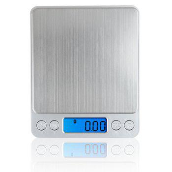 Digital Kitchen Scale Stainless Steel High Precision Pocket Food Multifunction with Back Lit LCD Display - SILVER