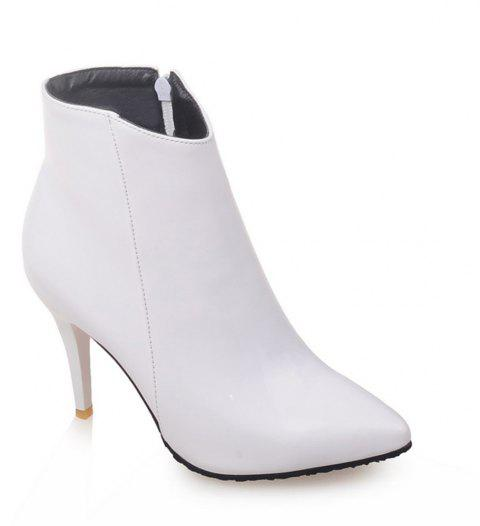 Women Shoes Zip Booties Stiletto Heel Ankle Boots - WHITE 37