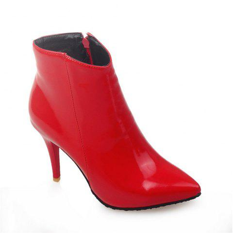 Women Shoes Zip Booties Stiletto Heel Ankle Boots - RED 40