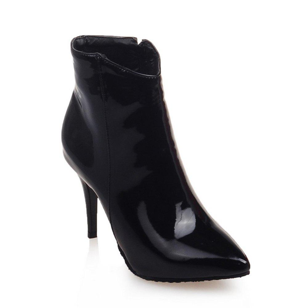 Women Shoes Zip Booties Stiletto Heel Ankle Boots - BLACK 42