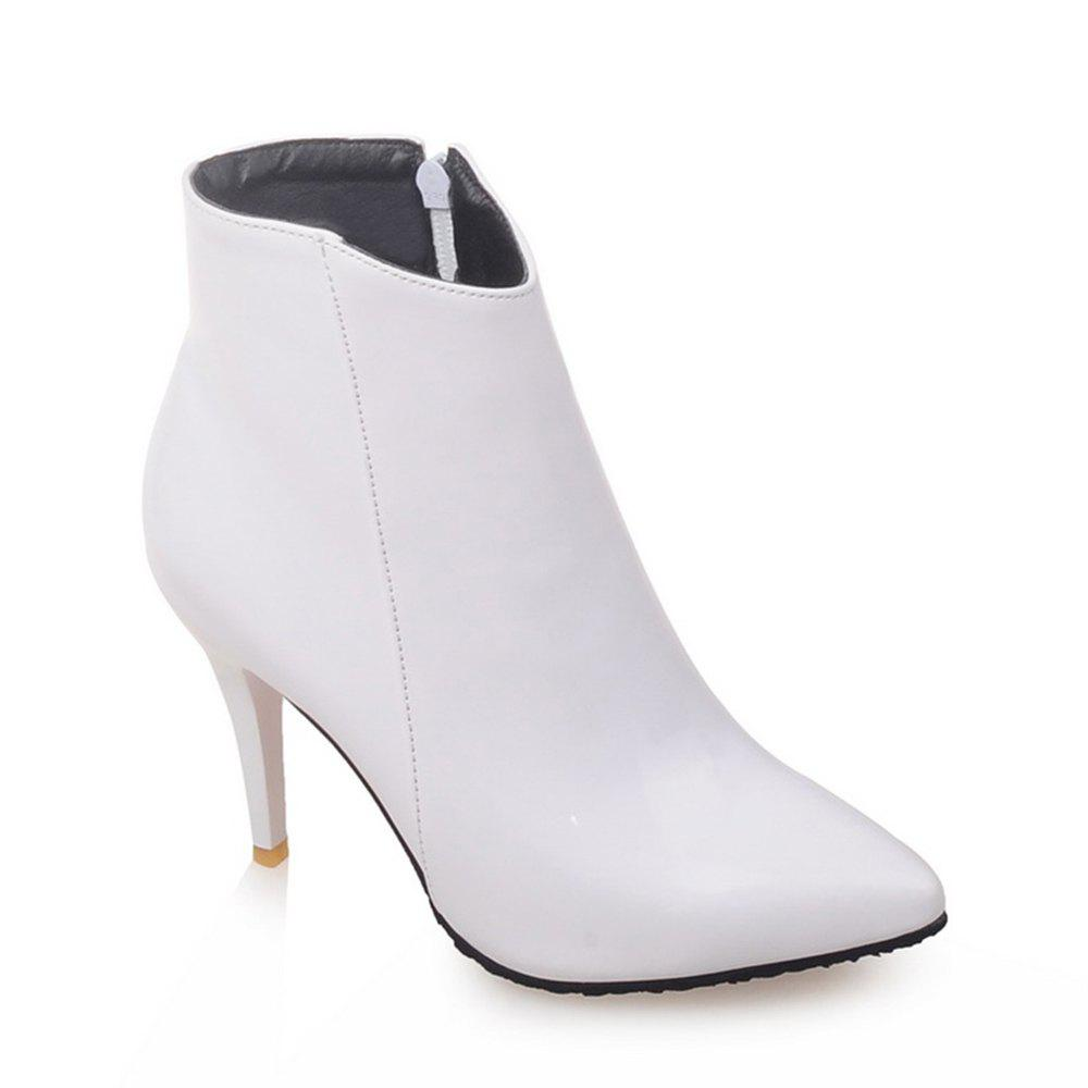 Women Shoes Zip Booties Stiletto Heel Ankle Boots - WHITE 40