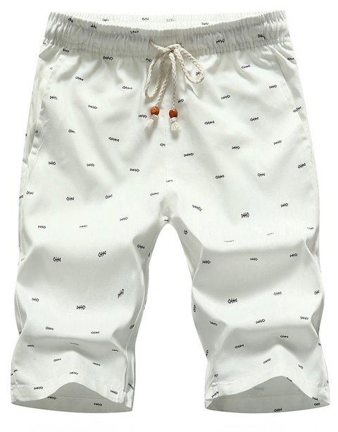 Men's Casual Shorts Summer Beach Pants - WHITE 3XL