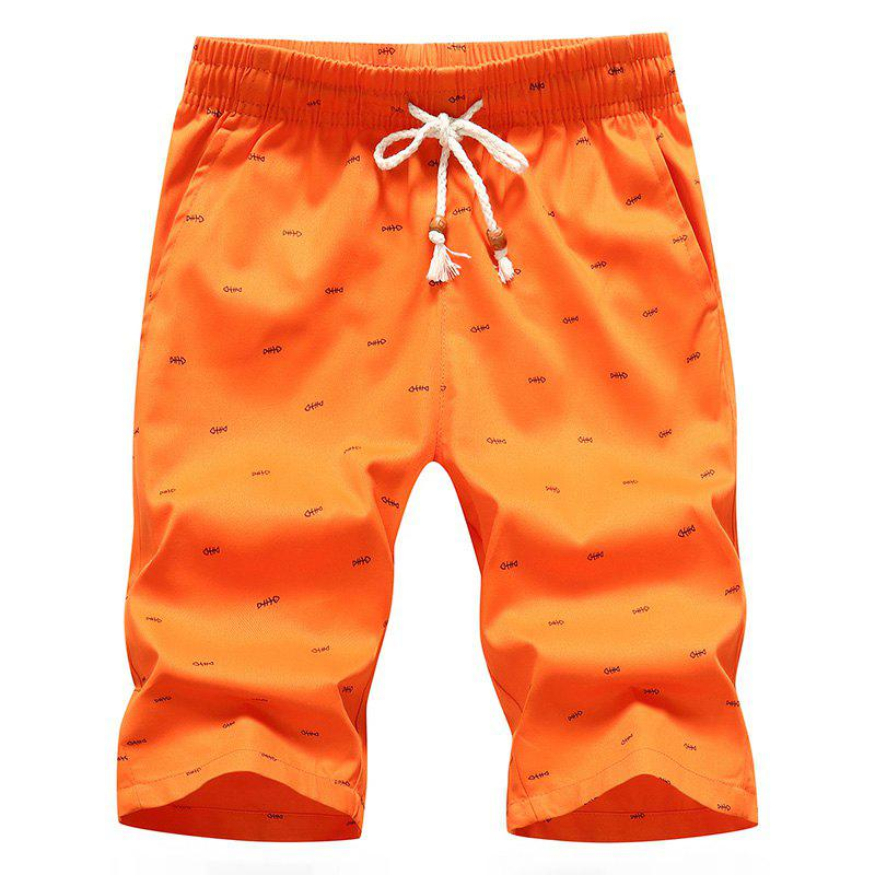 Men's Casual Shorts Summer Beach Pants - ORANGE/PRINT 4XL