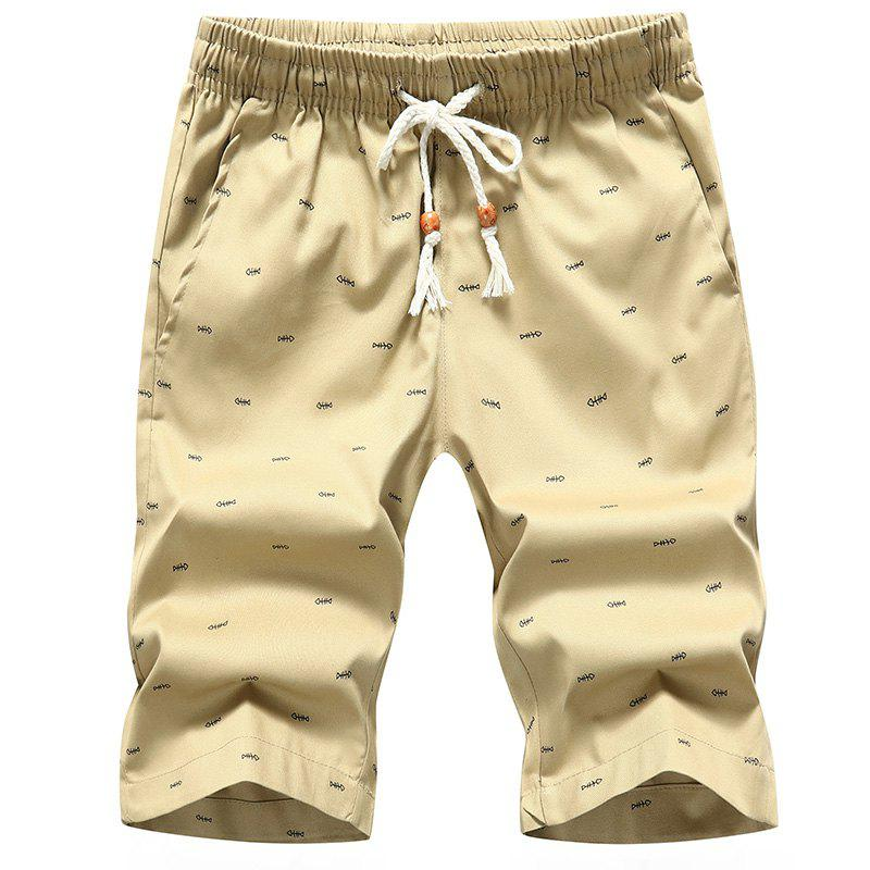 Men's Casual Shorts Summer Beach Pants - KHAKI M