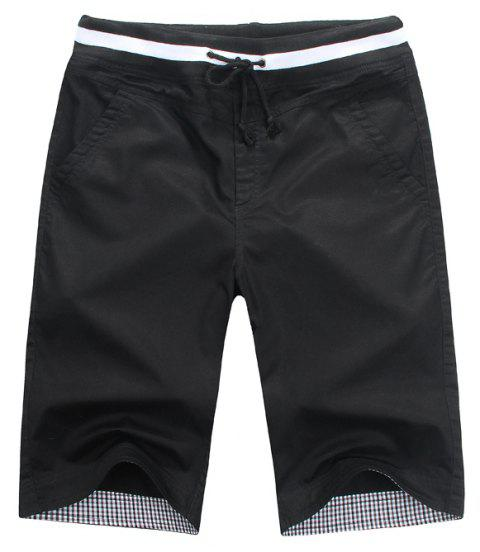 Summer New Men's Cotton Casual Shorts - BLACK 3XL