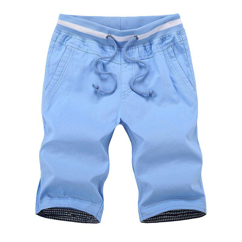 Summer New Men's Cotton Casual Shorts - LIGHT BLUE 4XL