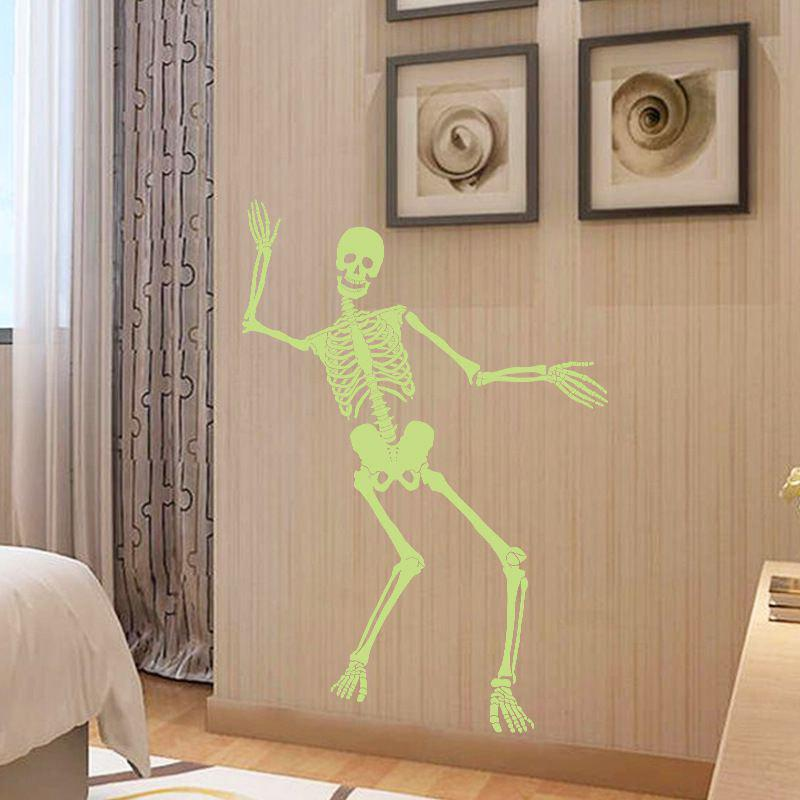 Creative Halloween  Stickers Dancing Skull Luminous Sticker Party Skeleton DIY Art Wall Decals Haunted Bar Decoration - NEON GREEN 60X90CM