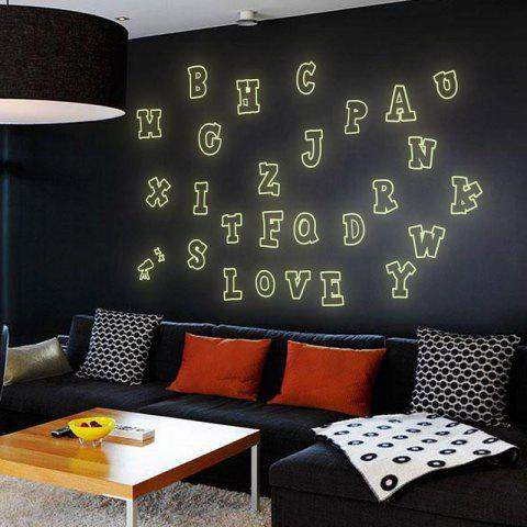 DSU Colorful Sticker 26 English Letters Fluorescent Luminous Poster Wall Decor Wall Stickers for Kids Rooms Home Decoration - COLORFUL 21X30CM