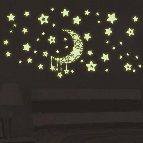 DSU Luminous Stickers Fluorescent Moon and Stars Wall Mural Home Decor Room - FLUORESCENT YELLOW 21X30CM