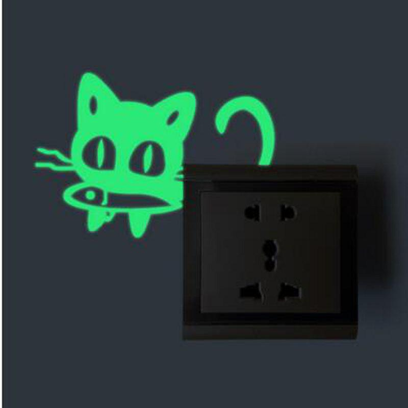 DSU Funny Cartoon Cat Eat Fish Luminous Switch Sticker Kids Rooms DIY Personalized Decoration Wall Decor Sticker Glow Home Decals - NEON GREEN 11X10CM