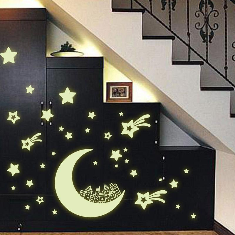 DSU Luminous Star Stickers Fluorescence Moon Children House Decoration Gift of Cartoons Originality Ornament - FLUORESCENT YELLOW 21X30CM