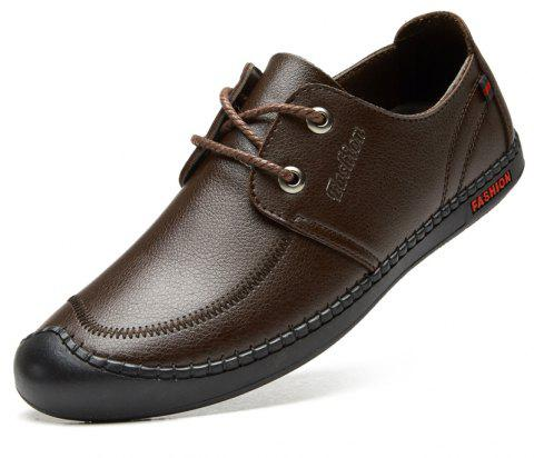 Men Casual Wear Outsole Leather Wedding Shoes - BROWN 42