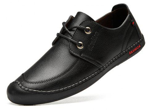 Men Casual Wear Outsole Leather Wedding Shoes - BLACK 40