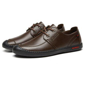 Men Casual Wear Outsole Leather Wedding Shoes - BROWN 40