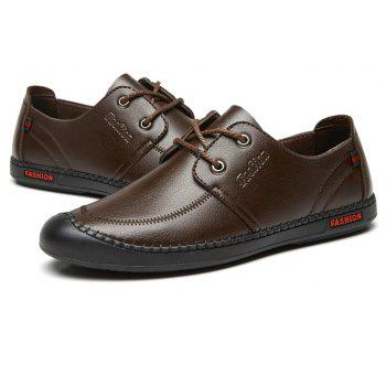 Men Casual Wear Outsole Leather Wedding Shoes - BROWN 43