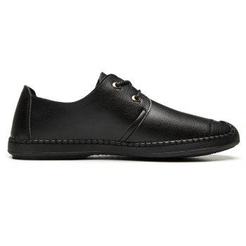 Men Casual Wear Outsole Leather Wedding Shoes - BLACK 38