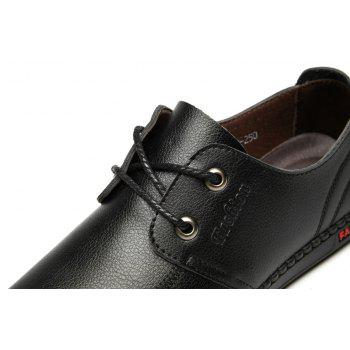 Men Casual Wear Outsole Leather Wedding Shoes - BLACK 39