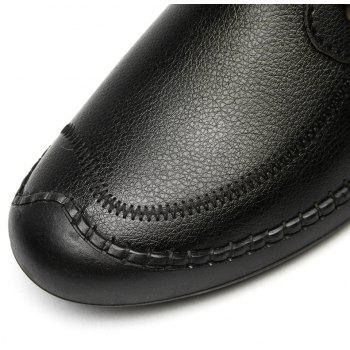 Men Casual Wear Outsole Leather Wedding Shoes - BLACK 43