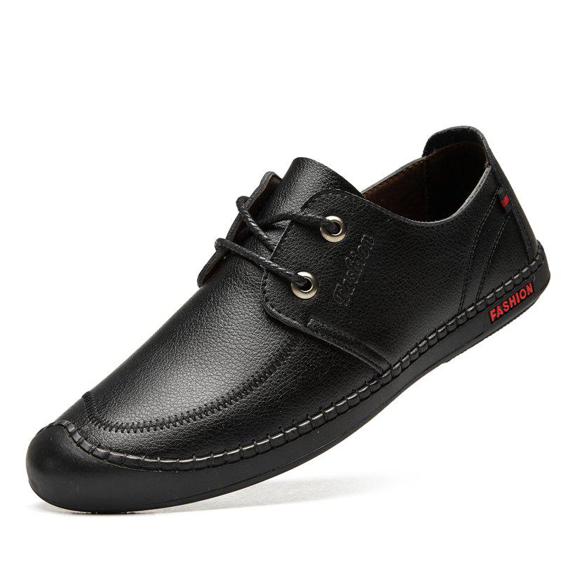 Men Casual Wear Outsole Leather Wedding Shoes - BLACK 44