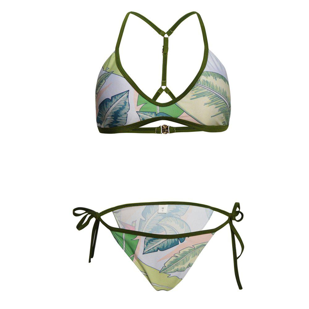 Tree Leaves Two Piece Bikini Set Swimsuit - IVY L