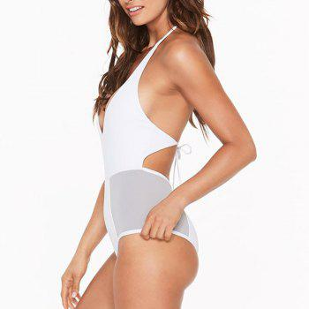 Lady's Blocking Sling One Piece Swimsuit - WHITE L