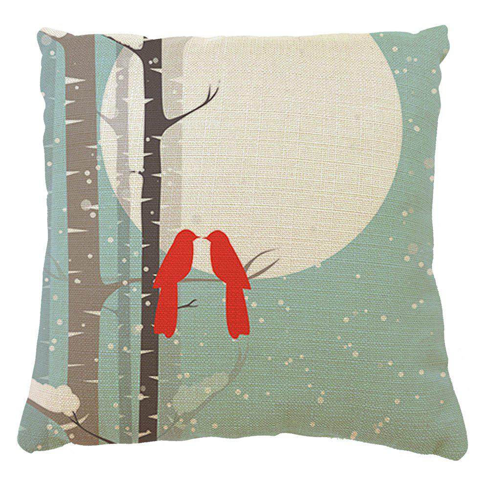Home Adornment Cushion Cover Branches Birds Month - COLORMIX 16INCH X16INCH