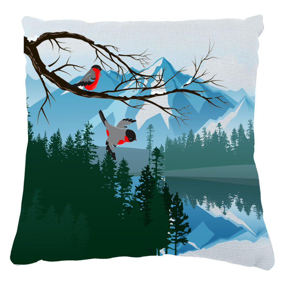 Green Bird Sofa Cushion Cover Mountains Rivers Home Furnishing Decorations Can Disassembled Cleaning - COLORMIX 16INCH X16INCH