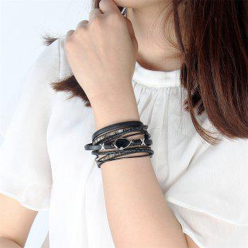 Fashion Summer Two Laps Multilevel Cowhide Water Drop Hand Chain - BLACK