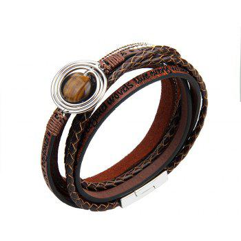 Fashion Multilevel Cortico Crystal Agate Bracelet - BROWNIE