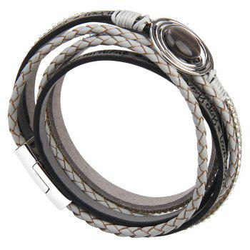 Fashion Multilevel Cortico Crystal Agate Bracelet - GRAY