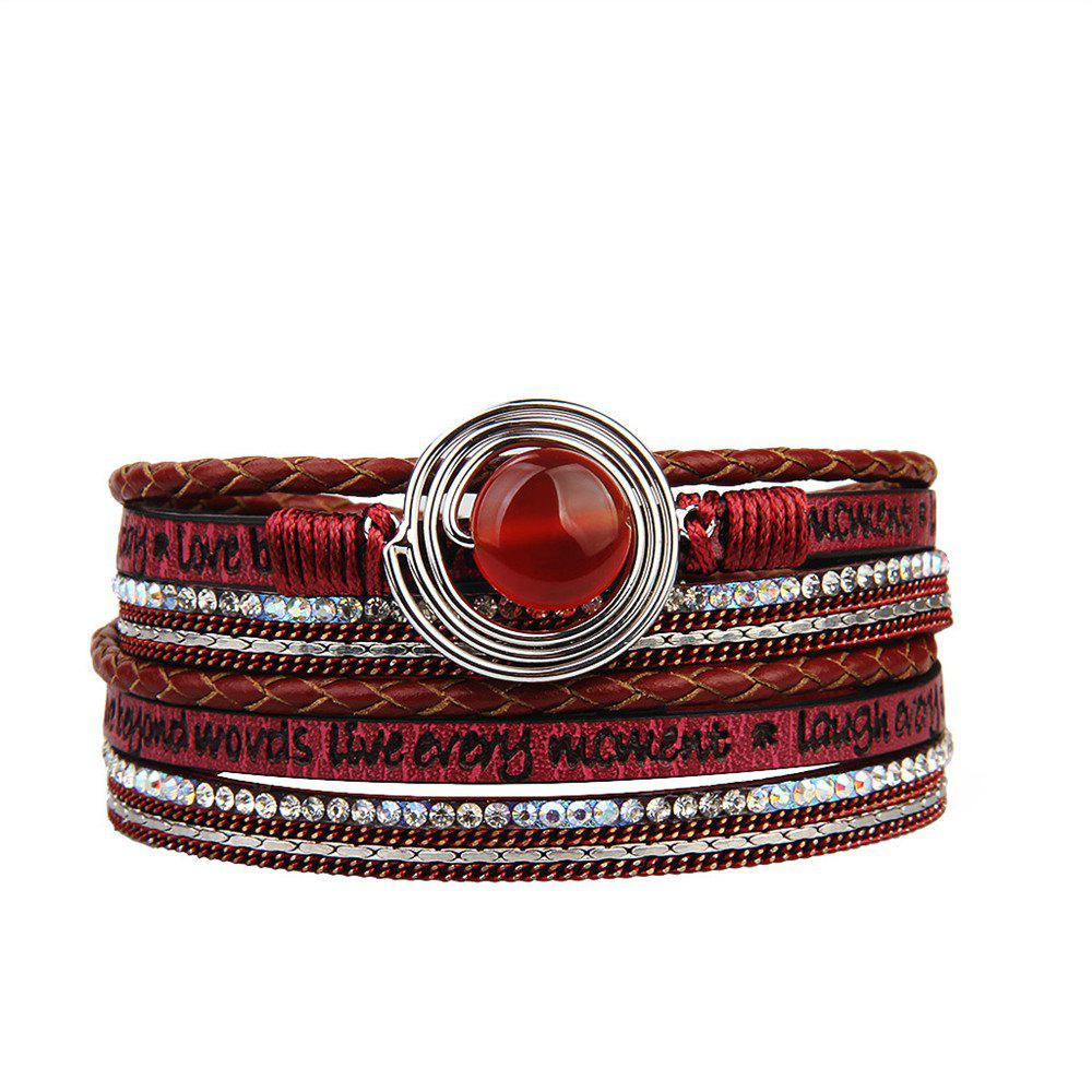 Fashion Multilevel Cortico Crystal Agate Bracelet - RED