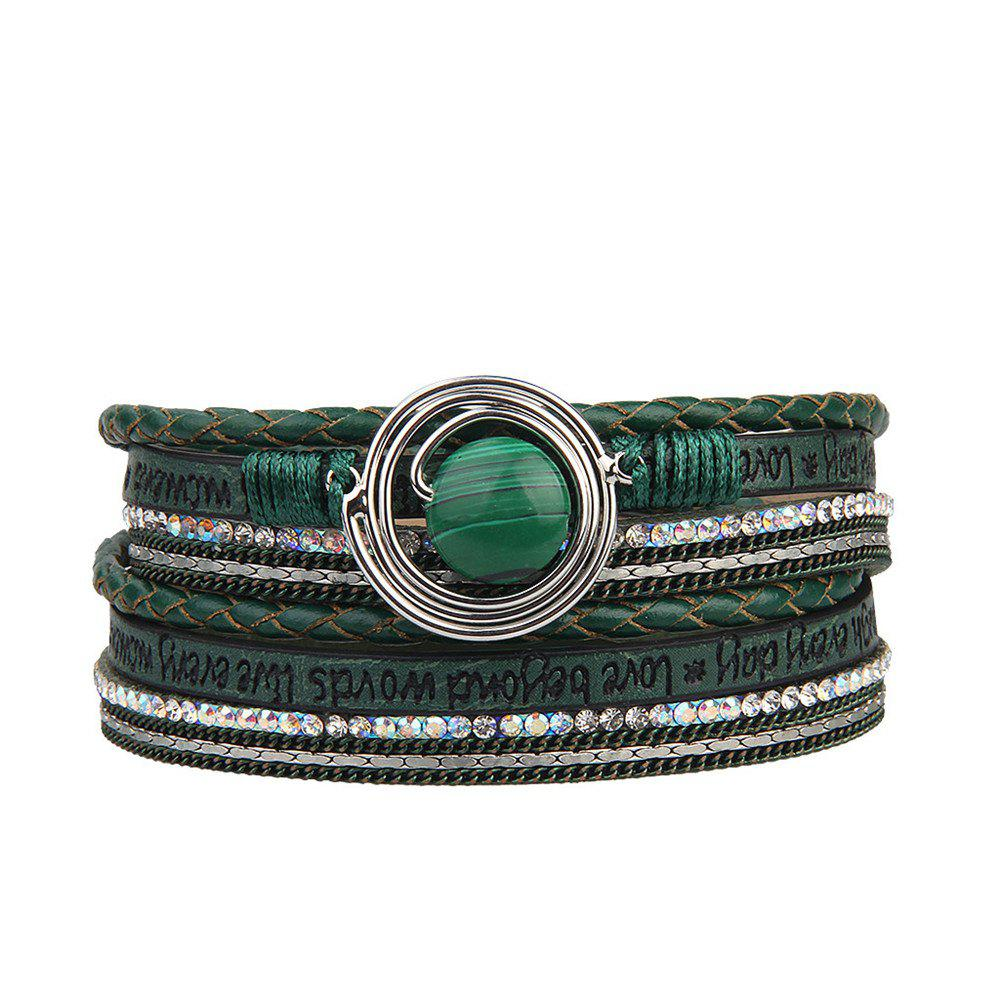 Fashion Multilevel Cortico Crystal Agate Bracelet - GREEN
