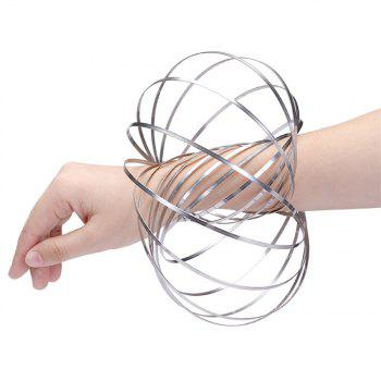 3D Sculpture Ring  Inductive Flowtoys Outdoor Game Kids Educational Toy - SILVER