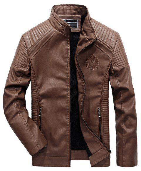 Autumn Men Plus Cashmere Leather Collar Motorcycle Suit Jacket - BROWN 6XL