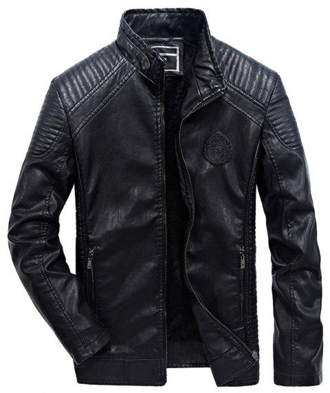 Autumn Men Plus Cashmere Leather Collar Motorcycle Suit Jacket - BLACK XL