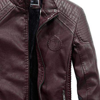 Autumn Men Plus Cashmere Leather Collar Motorcycle Suit Jacket - BURGUNDY 2XL